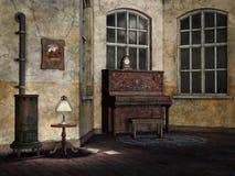 Stary i zakurzony żywy pokój ilustracji