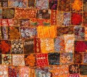 Stary Indiański patchworku dywan Rajasthan, India obraz stock