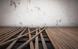 Stary izbowy naprawianie Łamane podłogowe drewno deski świadczenia 3 d royalty ilustracja