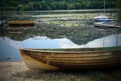 stary jeziora łodzi rybackich Zdjęcia Royalty Free