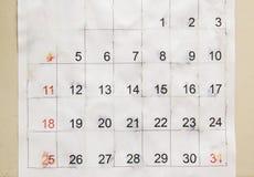 Stary kalendarza papier Obrazy Stock