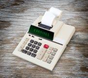 Stary kalkulator - przychody Zdjęcie Stock