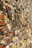 Stary kamień i ściana z cegieł w perspektywie obrazy stock
