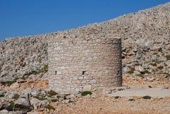Stary kamienny wiatraczek, Halki wyspa Fotografia Stock