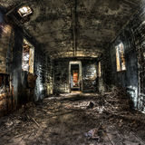 Stary kareciany wnętrze z lekki przepytywać Zdjęcia Stock
