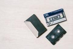 Stary kasety taśmy pisak Odgórny widok Obrazy Stock