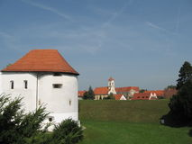 Stary kasztel i kościół obrazy royalty free