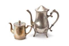 Stary kawowy garnek i teapot zdjęcia royalty free