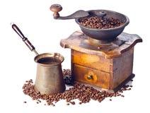 Stary kawowy ostrzarz, kawowy producent i kawowe fasole, Obrazy Stock