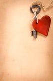 Stary klucz z sercem Fotografia Royalty Free