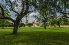 Stary kościół i drzewa przy misją San Jose w San Antonio, Teksas Obraz Stock
