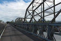 Stary kolei, granicy most przez Sixaola rzekę między i fotografia royalty free