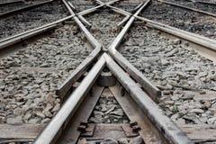 Stary kolej pociągu ślad przy stacją kolejową Zdjęcia Stock