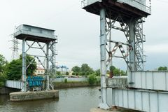 Stary kolejowy most w Kaliningrad Obraz Stock
