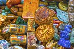 Stary Kolorowy Chiński Ceramiczny pamiątki Panjuan pchli targ Beij fotografia stock