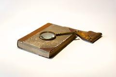 stary książkowy magnifier Zdjęcie Stock