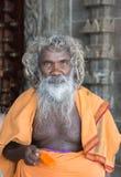 Stary ksiądz przy Pillayarpatti Karpaga Vinayagar świątynią Fotografia Royalty Free