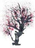 Stary kwitnący drzewo malujący w atramencie ilustracji