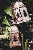 Stary lampion w opustoszałym ogródzie zdjęcia stock