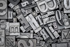 Stary letterpress metalu typ drukowi bloki obraz stock