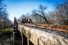 Stary linia kolejowa most, Grainger Teksas Zdjęcie Stock