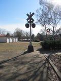 Stary linia kolejowa sygnału skrzyżowanie Zdjęcia Royalty Free