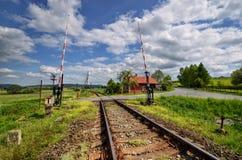 Stary linii kolejowej skrzyżowanie Zdjęcia Stock
