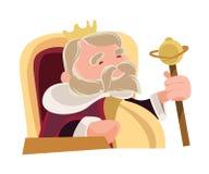 Stary mądry królewiątko siedzi królewskiego ilustracyjnego postać z kreskówki royalty ilustracja