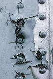 Stary malujący metalu tła szczegół samolot wojskowy, nawierzchniowy korodowanie obraz stock