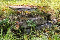 Stary manhole przerastający z trawą obraz royalty free