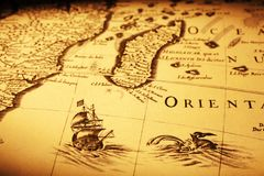 Stary mapa Dennego potwora żeglowania statek Afryka Madagascar Obrazy Royalty Free