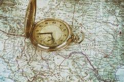 stary mapa zegarek Zdjęcia Stock