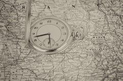 stary mapa zegarek Obrazy Stock