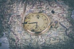 stary mapa zegarek Obrazy Royalty Free
