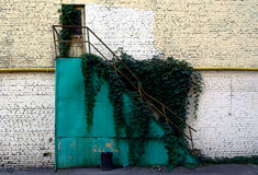Stary metalu schody przerastający z trawą Łamany i zaniechany obrazy royalty free