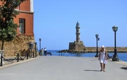 Stary miasteczko. Chania, Maj - 21 -Widok Morski muzeum w Crete, Zdjęcie Stock