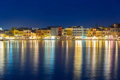 Stary miasteczko Chania miasto przy nocą, Crete Fotografia Stock