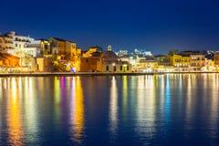 Stary miasteczko Chania miasto przy nocą, Crete Obraz Stock