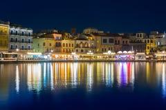 Stary miasteczko Chania miasto przy nocą, Crete Zdjęcia Royalty Free