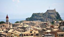 Stary miasteczko Corfu i siła, Grecja Obrazy Stock