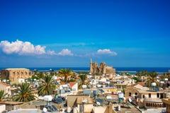Stary miasteczko Famagusta, Cypr (Gazimagusa) Wysokość elivated widok zdjęcie stock