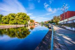 Stary miasteczko i świrony Brda rzeką Bydgoski obrazy royalty free