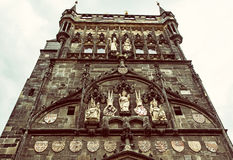 Stary miasteczko mosta wierza w Praga, republika czech, stary filtr Zdjęcie Royalty Free