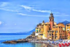 Stary miasteczko port morski Camogli Fotografia Royalty Free