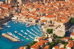 Stary miasteczko port od above zdjęcie stock