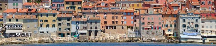 Stary miasteczko Rovinj Istria Chorwacja nabrzeża panorama Obrazy Stock