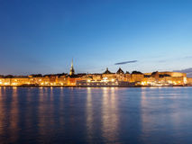 Stary miasteczko Sztokholm Przy nocą Zdjęcie Royalty Free