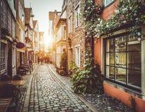 Stary miasteczko w Europa przy zmierzchem z retro rocznika filtra skutkiem Obrazy Royalty Free