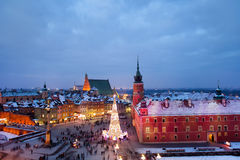 Stary miasteczko Warszawa przy półmrokiem w Polska Obrazy Royalty Free
