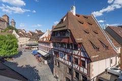 Stary miasteczko, widok od defence ściany Albrecht Durer dom, Środkowy Franconia, Bavaria, Niemcy zdjęcia royalty free